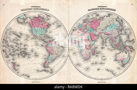 1862, Johnson Map of the World on Hemisphere Projection. Reimagined by Gibon. Classic art with a modern twist reimagined - Stock Photo