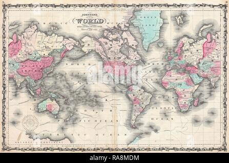 1862, Johnson Map of the World on Mercator Projection. Reimagined by Gibon. Classic art with a modern twist reimagined - Stock Photo