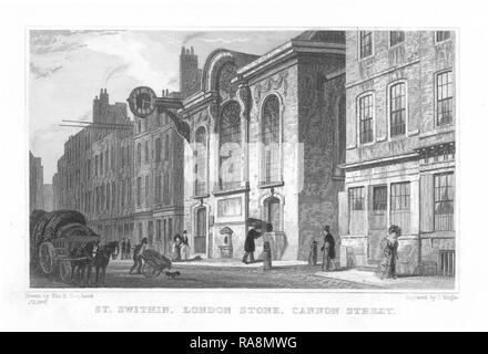 The south front of Wren's church of St Swithin London Stone, in an engraving after T. H. Shepherd, 1831. - Stock Photo