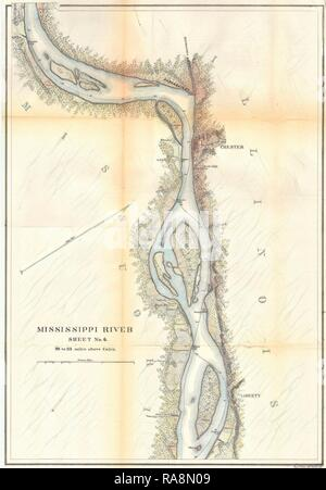 1865, U.S.C.S. Map of the Mississippi River around Chester Illinois. Reimagined by Gibon. Classic art with a modern reimagined - Stock Photo
