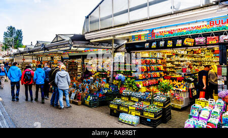 Souvenir shops at the famous Bloemenmarkt (Flower Market) along the Singel Canal in the city center of Amsterdam in the Netherlands - Stock Photo