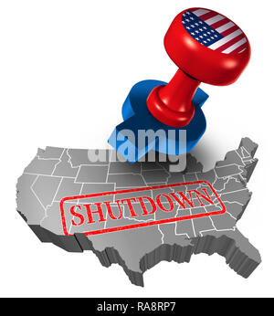 Shutdown of the American or United States government and USA closed or federal shut down due to spending bill disagreement. - Stock Photo