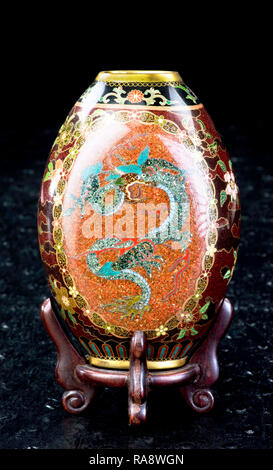 Antique Japanese cloisonne vase made in the Meiji Period around 1890. - Stock Photo