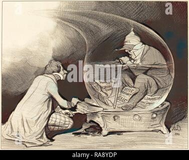Honoré Daumier (French, 1808 - 1879), Le Rajeunissement du Constitutionnel, 1844, lithograph. Reimagined - Stock Photo