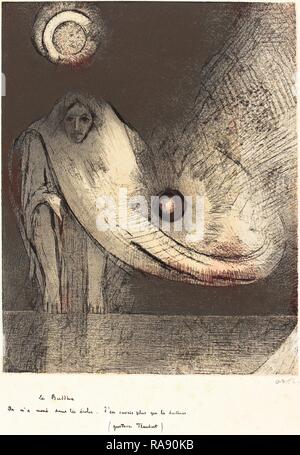 Odilon Redon (French, 1840 - 1916), Le Buddha, 1895, lithograph. Reimagined by Gibon. Classic art with a modern twist reimagined - Stock Photo