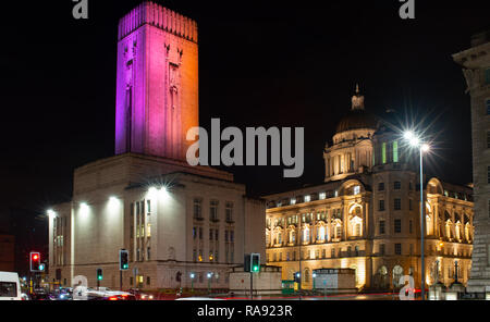 Queensway (Mersey) Tunnel ventilation shaft, The Strand, Liverpool, with the Dock Board Building on the right. Image taken in December 2018. - Stock Photo