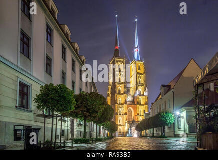 John the Baptist Cathedral in the oldest, historic part of Wroclaw called Ostrow Tumski, Poland - Stock Photo