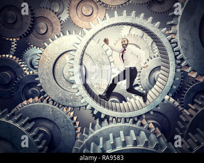 running businessman in huge abstract gear - Stock Photo