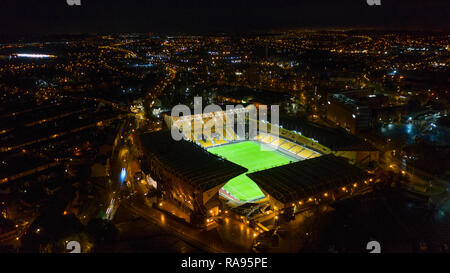 Aerial view of Molineux stadium home of Wolverhampton Wanderers Football Club at night - Stock Photo