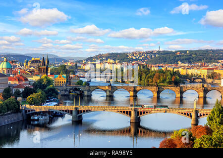 Charles bridge and other Prague bridges over the Vltava river, b - Stock Photo