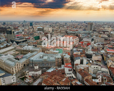 Bucharest aerial view - Stock Photo