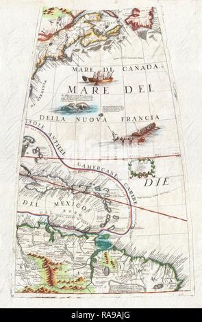 1688, Coronelli Globe Gore Map of NE North America, the West Indies, and NE South America. Reimagined - Stock Photo