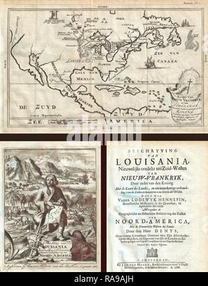 1688, Hennepin First Book and Map of North America, first printed map to name Louisiana. Reimagined by Gibon. Classic reimagined - Stock Photo