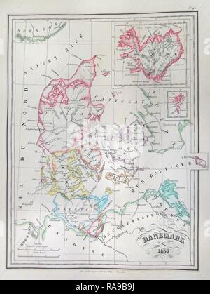 1833, Malte-Brun Map of Denmark, Iceland and Faeroe Islands . Reimagined by Gibon. Classic art with a modern twist reimagined