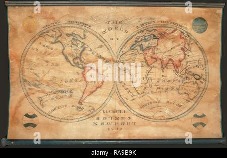 1833, School Girl Manuscript Wall Map of the World on Hemisphere Projection, Marcia Rounds of Newport. Reimagined