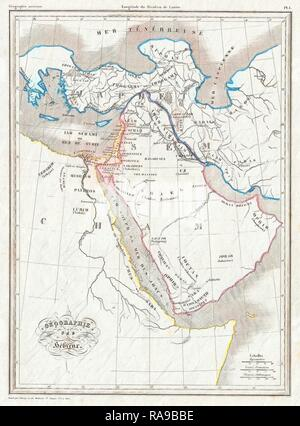 1843, Malte Brun Map of the Biblical Lands of the Hebrews, Egypt, Arabia, Israel, Turkey. Reimagined - Stock Photo