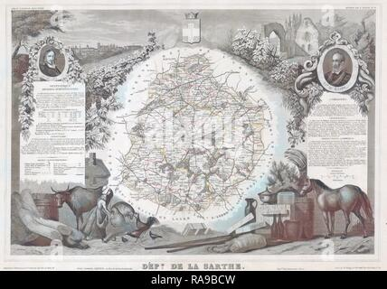 1847, Levasseur Map of Sarthe, France. Reimagined by Gibon. Classic art with a modern twist reimagined - Stock Photo