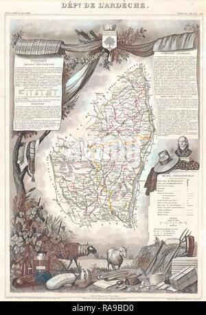 1847, Levasseur Map of the Dept. de L'Ardeche, France. Reimagined by Gibon. Classic art with a modern twist reimagined - Stock Photo