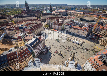 Old town square in Dresden - Stock Photo