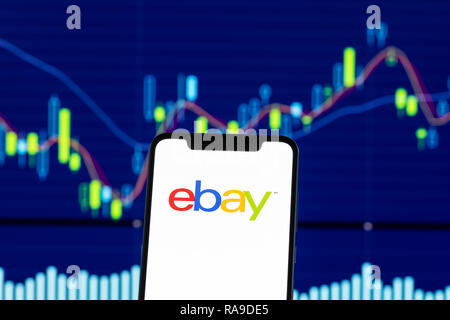 ebay logo is seen on an android mobile phone over stock chart - Stock Photo