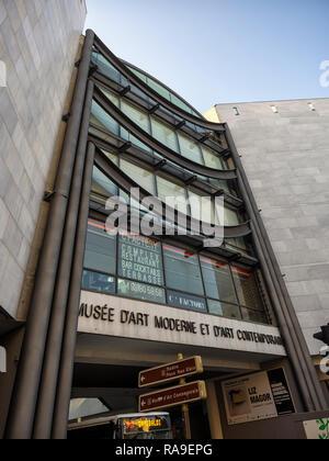 NICE, FRANCE:  Entrance to the Modern Art Museum (Musée d'art moderne et d'art contemporain) - Stock Photo