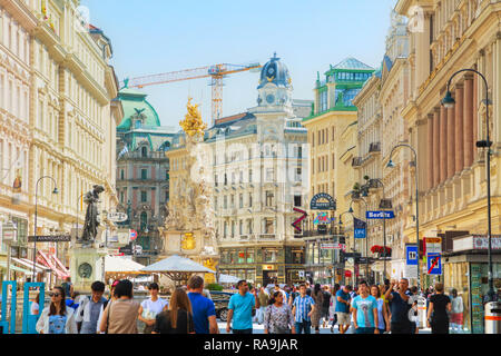 VIENNA - AUGUST 30: The Pestsaule (Plague Column) at Graben street on August 30, 2017 in Vienna. It's one of the most well-known and prominent pieces  - Stock Photo