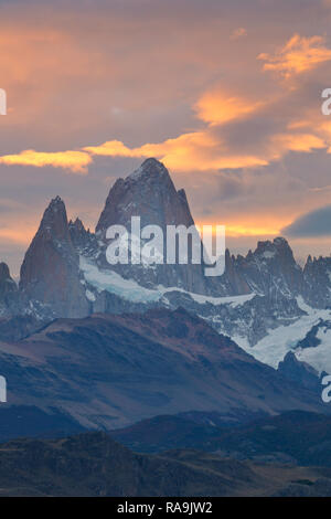 Sunset over Mount Fitz Roy in Argentina. - Stock Photo