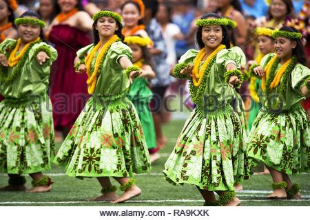 traditional hawaiian hula dancers - Stock Photo