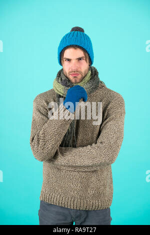 Welcoming winter. Handsome man in winter clothes. Bearded man got winter cold. Winter holidays. May the holidays bring your joy. - Stock Photo