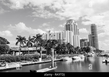 Miami, USA-February 19, 2017 :View of luxurious boats and yacht docked in a Miami South Beach Marina luxury life concept - Stock Photo