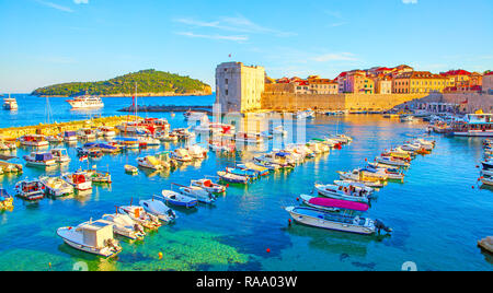 Panoramic view of Old port of Dubrovnik at sundown, Croatia - Stock Photo