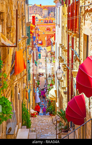 Medieval street in The Old Town of Dubrovnik in the summer, Croatia - Stock Photo