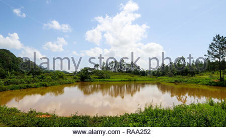 Scenic View of Vinales Valley and a Small Pond in Cuba - Stock Photo
