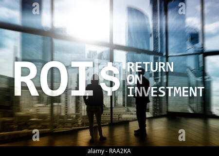 ROI - Return on investment, Financial market and stock trading concept. - Stock Photo