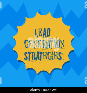 Text sign showing Lead Generation Strategies. Conceptual photo Initiation of consumer interest into products Blank Seal with Shadow for Label Emblem M - Stock Photo