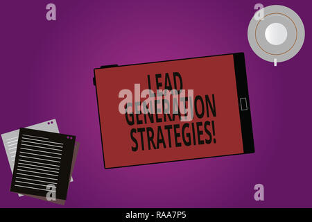 Text sign showing Lead Generation Strategies. Conceptual photo Initiation of consumer interest into products Tablet Empty Screen Cup Saucer and Filler - Stock Photo