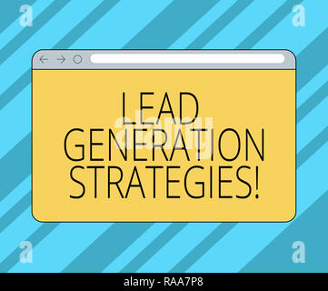 Text sign showing Lead Generation Strategies. Conceptual photo Initiation of consumer interest into products Monitor Screen with Forward Backward Prog - Stock Photo