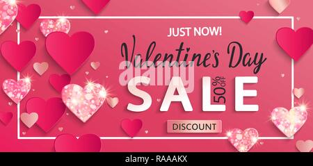 Valentines day sale banner with paper shiny glitter hearts,poster template.Pink abstract background with shimer hearts ornaments, origami style.Discount flyer,card for february 14.Vector illustration. - Stock Photo