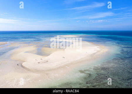 Aerial view of spectacular white coral sand and clear turquoise waters on Kondoi Beach, Taketomi Island, Yaeyama, Okinawa, Japan, taken by drone