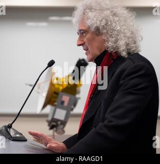 Brian May, lead guitarist of the rock band Queen and astrophysicist during a briefing prior to the expected flyby of Ultima Thule by the New Horizon spacecraft at Johns Hopkins University Applied Physics Laboratory December 31, 2018 in Laurel, Maryland. The flyby by the space probe occurred 6.5bn km (4bn miles) away, making it the most distant ever exploration of an object in our Solar System. - Stock Photo