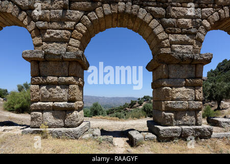 Section of the Roman Aqueduct which has four preserved arches, ancient city of Alinda, Caria, Anatolia, Turkey. This section of the aqueduct is 45 met - Stock Photo