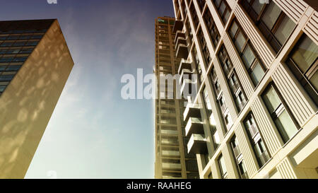 Skyscrapers, London, England, UK. September 26 2018. High rise office buildings in London against a blue sky. - Stock Photo