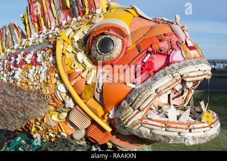Henry the Fish, a sculpture made of plastic waste washed up on Pacific beaches, created by 'Washed Ashore' and on display in Bandon, Oregon, USA.