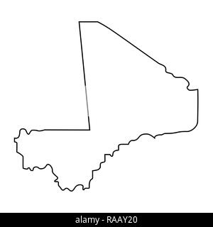 map of Mali - outline. Silhouette of map of Mali  illustration - Stock Photo