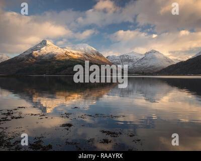 Loch Leven, Pap of Glencoe & Bidean nam Bian, Scotland - Stock Photo