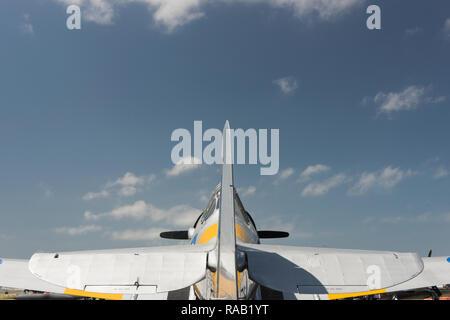 Silver Harvard, fighter plane, against sky - Stock Photo