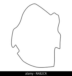 map of Swaziland - outline. Silhouette of Swaziland map  illustration - Stock Photo