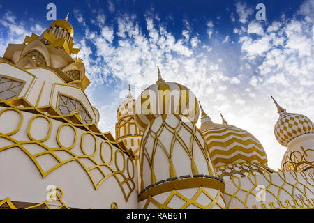 Close up Russian style fairy building with blue sky