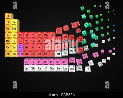 dissolving periodic table black background. cubes colored by element groups. suitable for, physics, science, technology and education themes. 3d illus