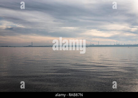 View across Southampton Water to Fawley Oil Refinery - Stock Photo
